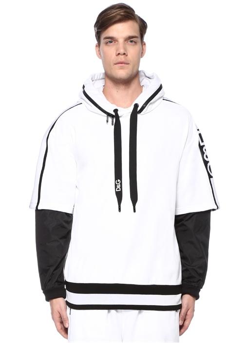 Beyaz Çift Kapüşonlu Kol Detaylı Sweatshirt