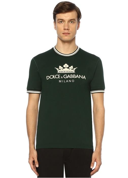 Yeşil Bisiklet Yaka Logo Baskılı Erkek T-shirt