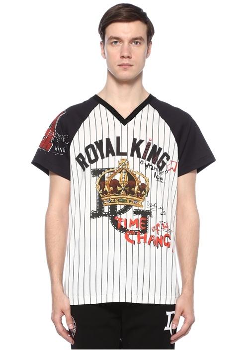 Siyah Beyaz Çizgili Baskılı Basic T-shirt
