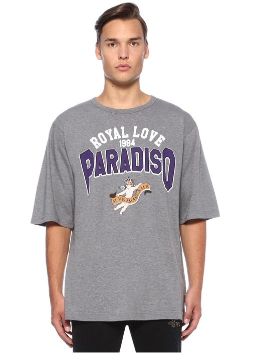 Gri Melanj Baskılı Basic T-shirt