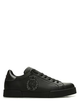 Siyah Logo Patchli Erkek Deri Sneaker