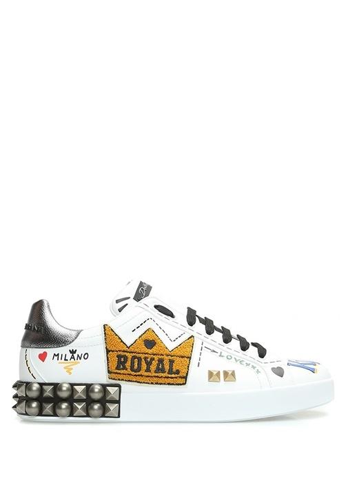 Beyaz Troklu Baskılı Logolu Erkek Deri Sneaker