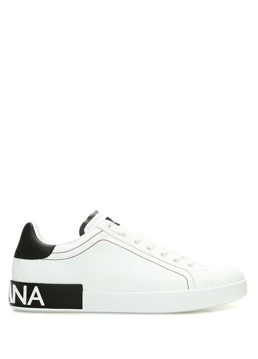 Beyaz Topuğu Logolu Erkek Deri Sneaker