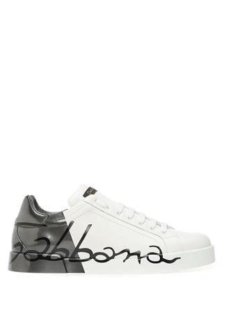 Beyaz Silver Logolu Erkek Deri Sneaker