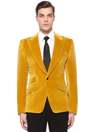 Dolce&Gabbana Erkek Sicilia Hardal Kırlangıç Yaka Kadife Ceket Sarı 50 I (IALY) Ürün Resmi