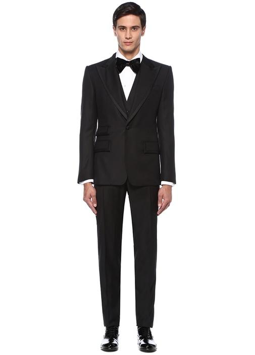 Siyah Kırlangıç Yaka Yelekli Yün Takım Elbise