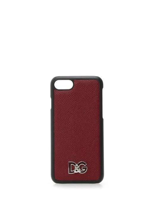 Kırmızı Logolu Erkek Deri iPhone 7 8 Telefon Kılıf