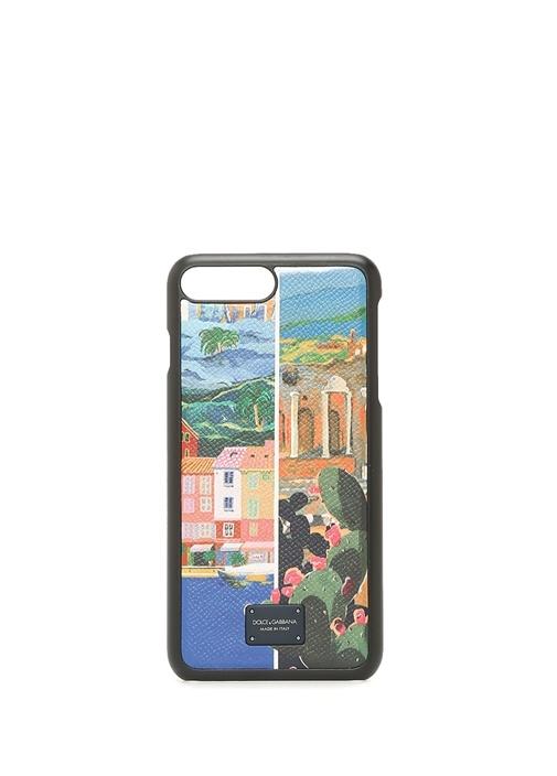 Baskılı Deri iPhone 7-8 Plus Telefon Kılıfı