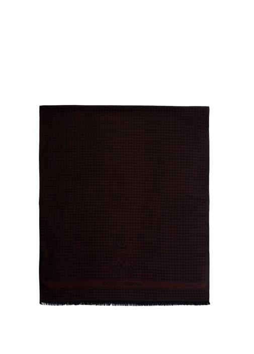 Bordo Kaz Ayağı Desenli Logolu Kaşmir Erkek Atkı
