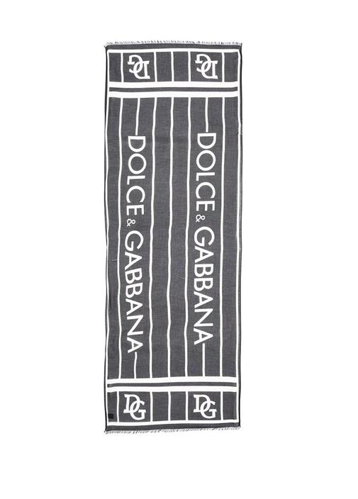 Siyah Beyaz Logo Baskılı Erkek Atkı
