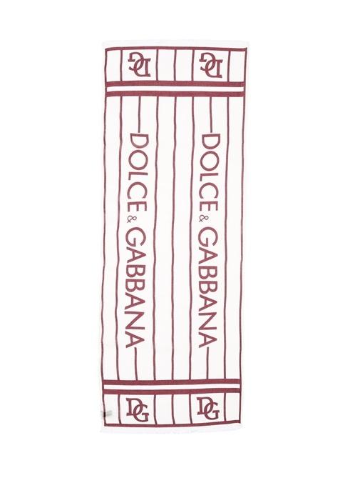 Beyaz Kırmızı Logolu Erkek Atkı