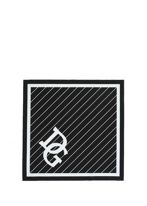 Siyah Beyaz Logo Baskılı Erkek Bandana