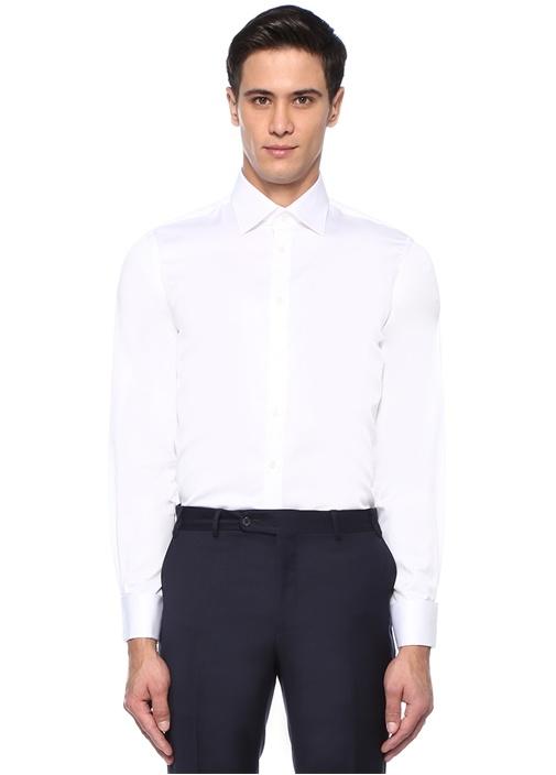 Standart Fit Beyaz İngiliz Yaka Gömlek