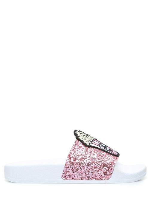 Glitter Pembe Beyaz Patchli Kız Çocuk Terlik