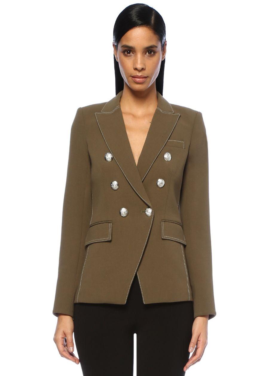 Veronica Beard Miller Dickey Haki Kırlangıç Yaka Kruvaze Ceket