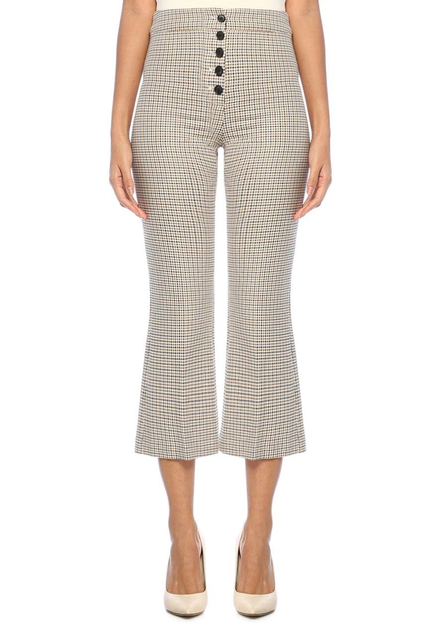 Veronica Beard Zap Yüksek Bel Kazayağı Desenli Crop Pantolon