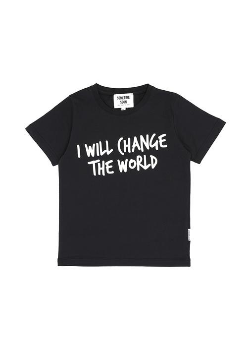 Change Siyah Yazı Baskılı Erkek Çocuk T-shirt