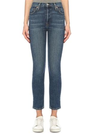 ReDone Re/Done Kadın Yüksek Bel Crop Streç Jean Pantolon Mavi 24 US