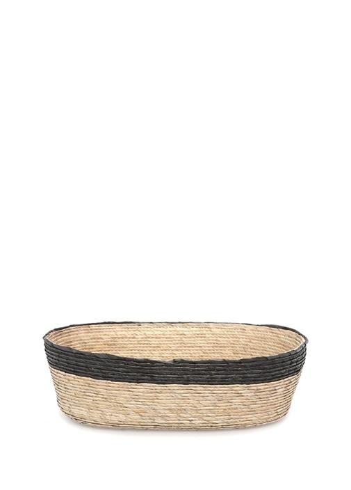 Bej Siyah Oval Formlu Hasır Sepet