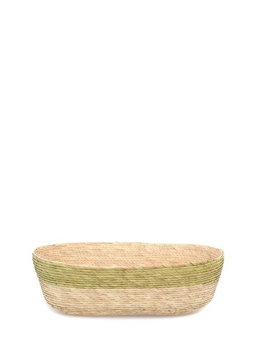 Bej Yeşil Oval Formlu Hasır Sepet