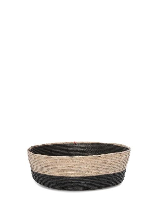 Bej Siyah Yuvarlak Formlu Hasır Sepet