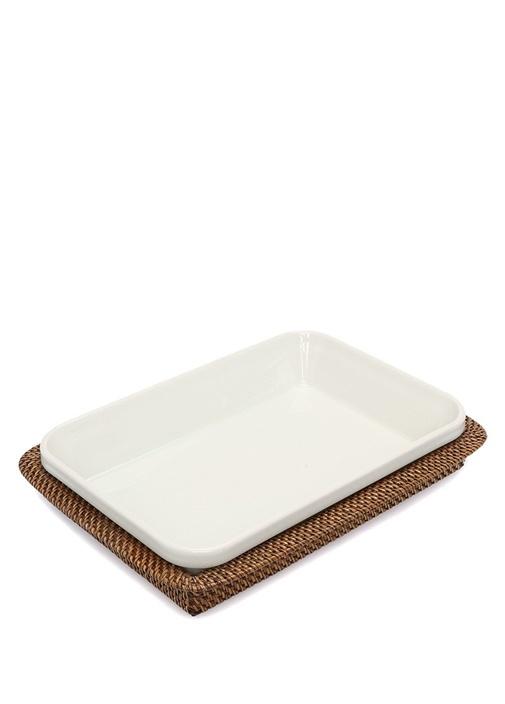 Beyaz Hasır Tepsili Porselen Servis Tabağı