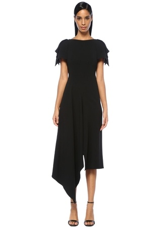86baefd4eb3af 8 female Siyah Roland Mouret Kadın Warren Sırtı Fermuarlı Asimetrik Midi  Elbise US