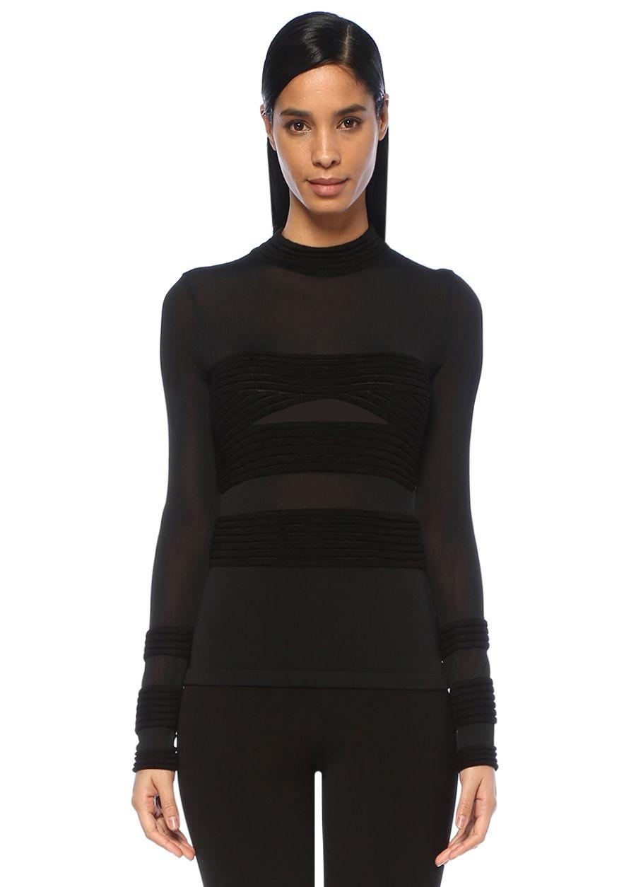 Roland Mouret Gwenn Siyah Şeritli Uzun Kol Transparanbluz