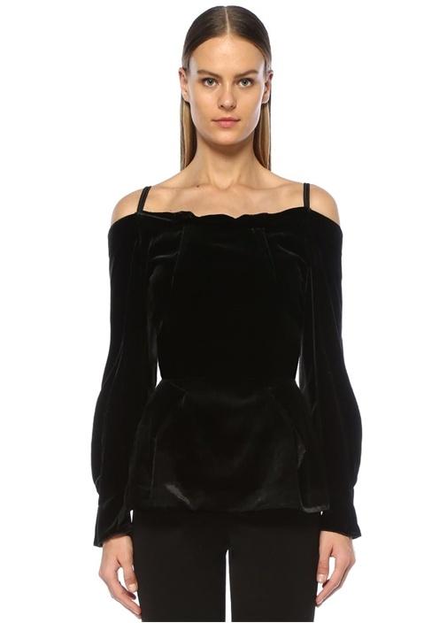 Walston Siyah Kol Detaylı Omuz Dekolteli Bluz