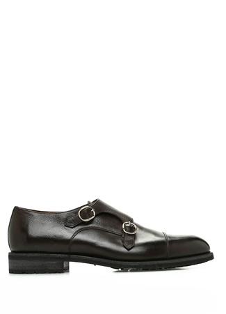Kahverengi Çift Kemerli Erkek Deri Ayakkabı