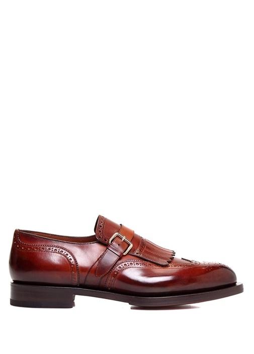 Taba Delik Desenli Püsküllü Erkek Deri Ayakkabı