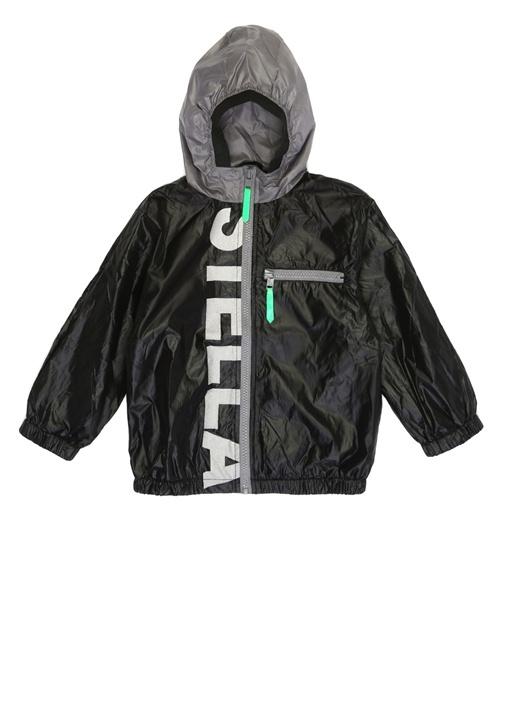 Lex Siyah Kapüşonlu Logolu Erkek Çocuk Ceket
