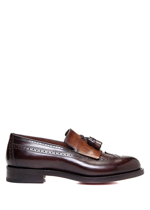 Kahverengi Püskül Detaylı Bantlı Erkek Deri Loafer