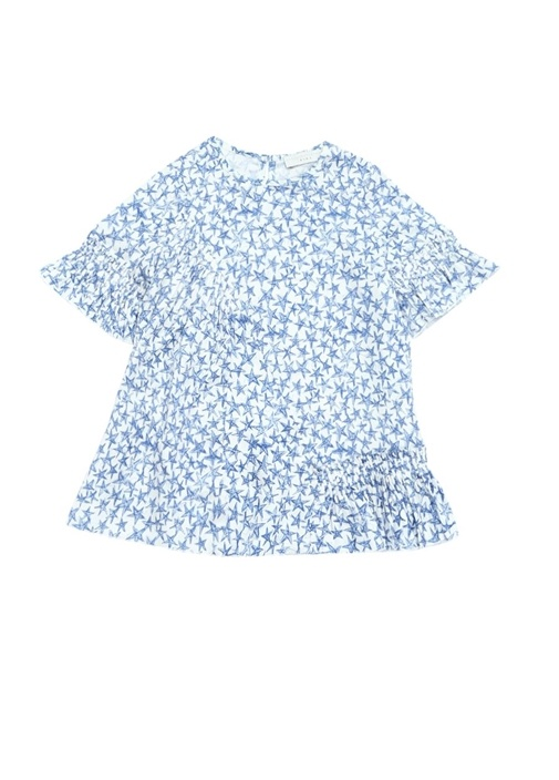 Viola Yıldız Baskılı Pileli Kız Çocuk Elbise