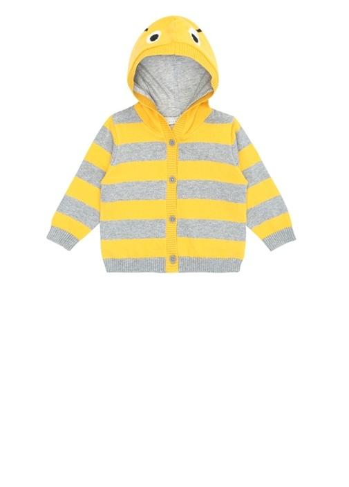 Sarı Şerit Detaylı Jakarlı Unisex BebekHırka