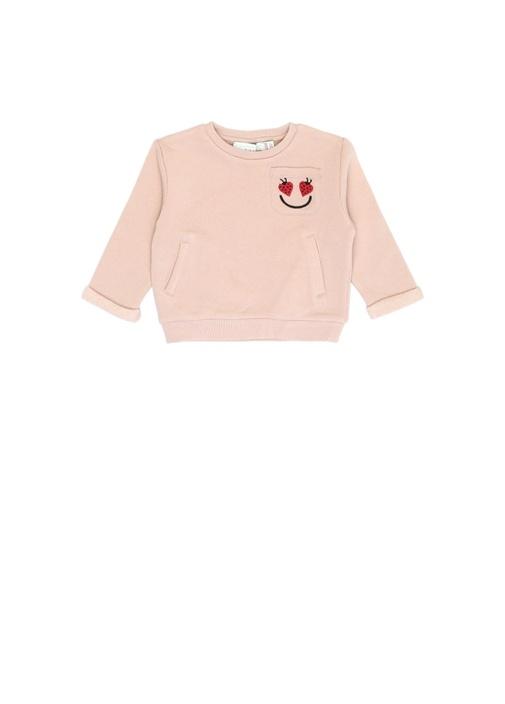 Zandra Pembe Nakış Detaylı Kız Bebek Sweatshirt