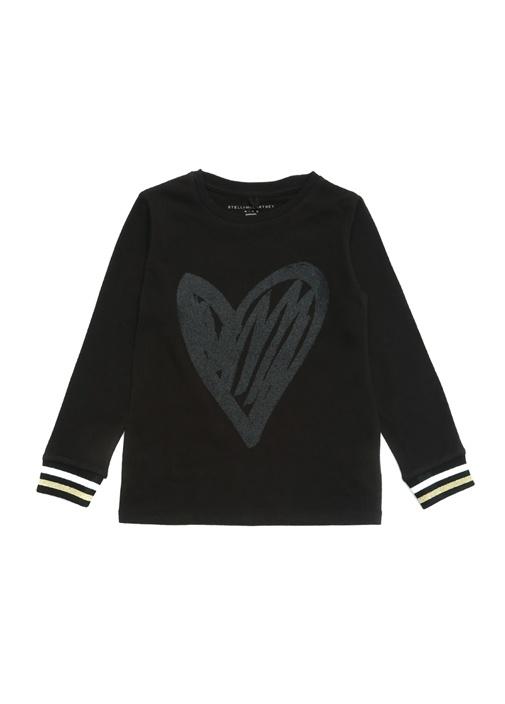 Kirsten Siyah Simli Kalp Baskılı Kız Çocuk T-shirt