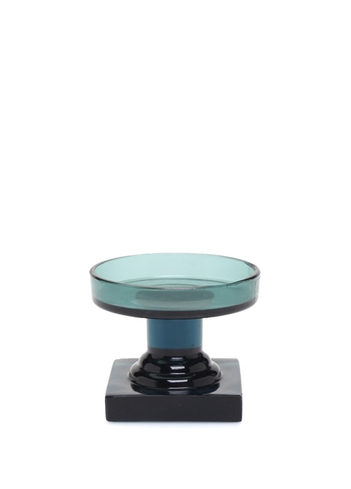 Trophy Yeşil Siyah Ayaklı Cam Mumluk