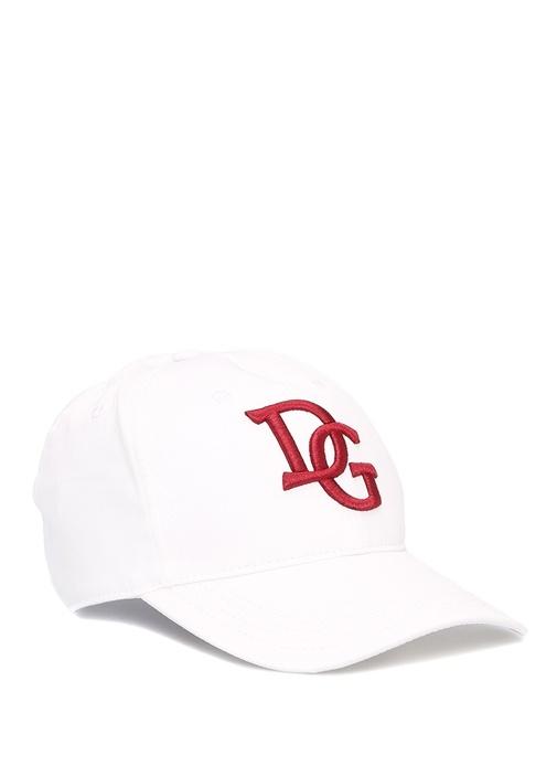 Beyaz Logo İşlemeli Erkek Şapka