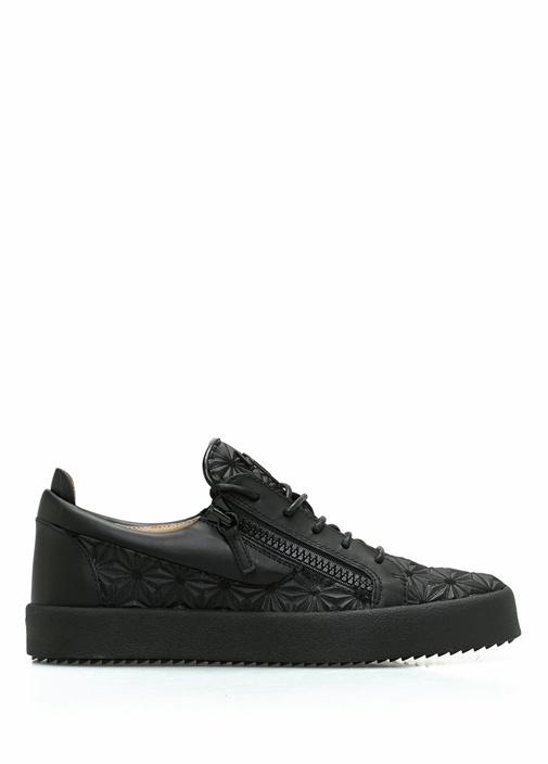 Siyah Geometrik Dokulu Erkek Deri Sneaker