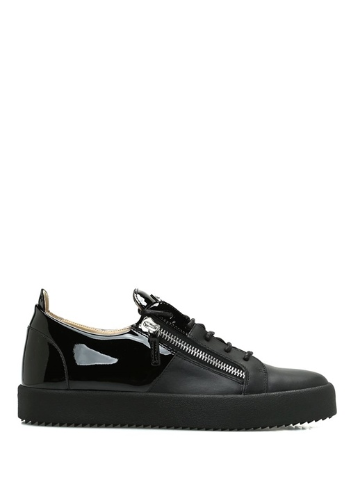 Giuseppe Zanotti Siyah ERKEK  Siyah Çift Fermuarlı Erkek Deri Sneaker 520399 Beymen