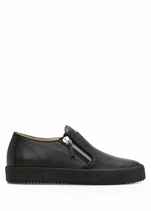 Siyah Çift Fermuar Detaylı Erkek Deri Sneaker