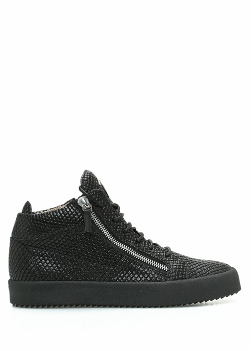 Siyah Çift Fermuarlı Dokulu Erkek Deri Sneaker