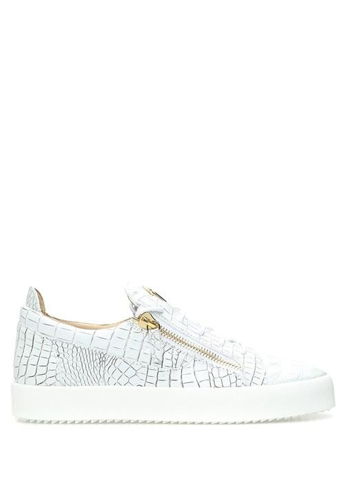 Giuseppe Zanotti Beyaz ERKEK  Beyaz Yılan Derisi Dokulu Erkek Deri Sneaker 520424 Beymen