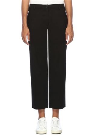 Kadın Fluid Siyah Yüksek Bel Bol Paça Keten Pantolon 6 US