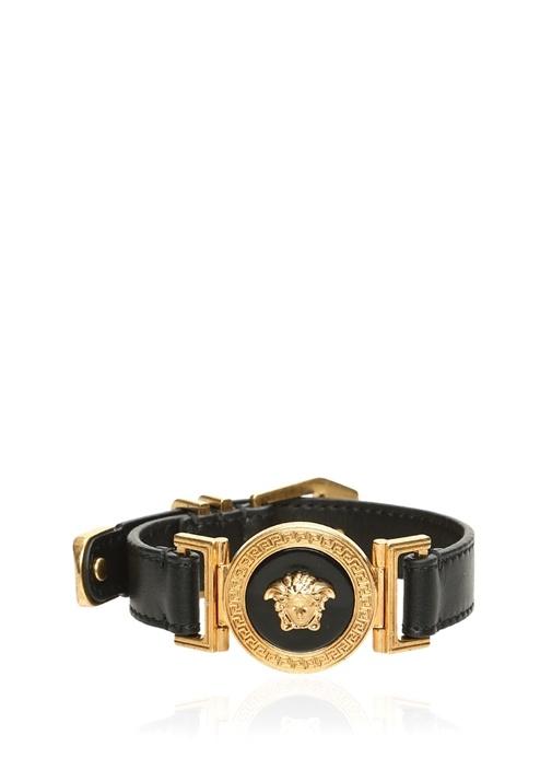 Siyah Gold Logo İşlemeli Erkek Bilezik