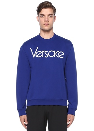 Vintage Lacivert Logo Nakışlı Sweatshirt