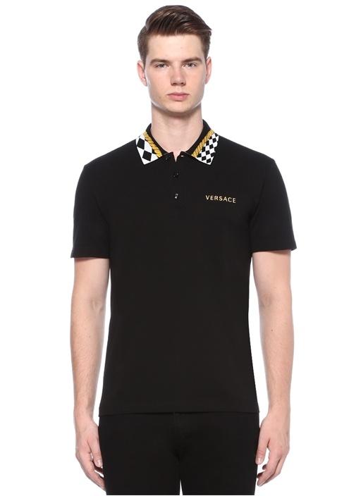 Siyah Yakası Baskı Detaylı Polo Yaka T-shirt