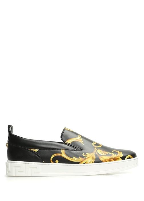 Siyah Gold Yaprak Baskılı Erkek Deri Sneaker