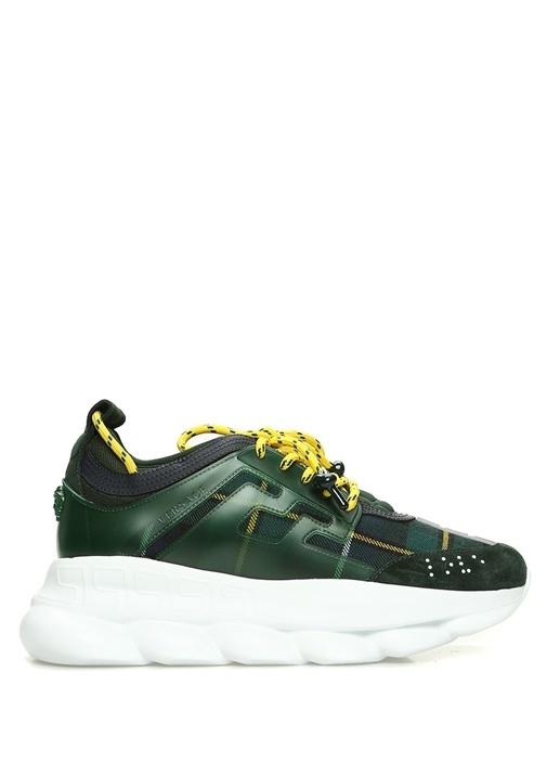 Yeşil Sarı Ekoseli Erkek Yün Sneaker